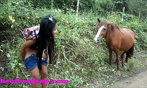 Heather unfathomable 4 wheeling on scary fast quad and peeing next to horses in the jungle youtube version