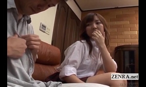 Subtitled cfnm japanese schoolgirl with mature boyfriend
