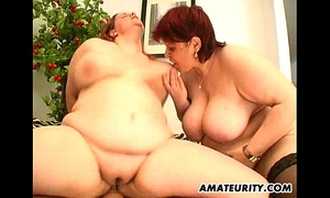 two sexy overweight dilettante milf in a 3some with facial