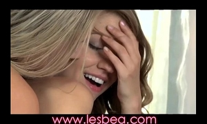 Lesbea youthful virgin legal age teenager learns how to fuck with experienced lesbo