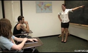 Punishment cook jerking in the classroom