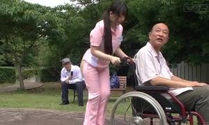 Subtitled extraordinary japanese half nude caregiver outdoors