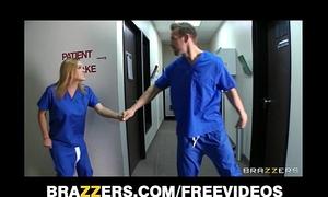 Slutty blond nurse sneaks off at work to gangbang a hospital intern