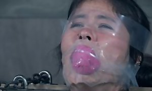 Asian fetish bitch tickled feet in foot fetish and licked feet until hot moanings and ruined orgasm
