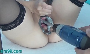 Peehole play with drilldo and bladder filled with cum and make water